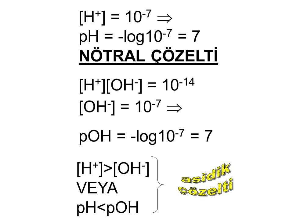 [H+] = 10-7  pH = -log10-7 = 7 NÖTRAL ÇÖZELTİ [H+][OH-] = 10-14